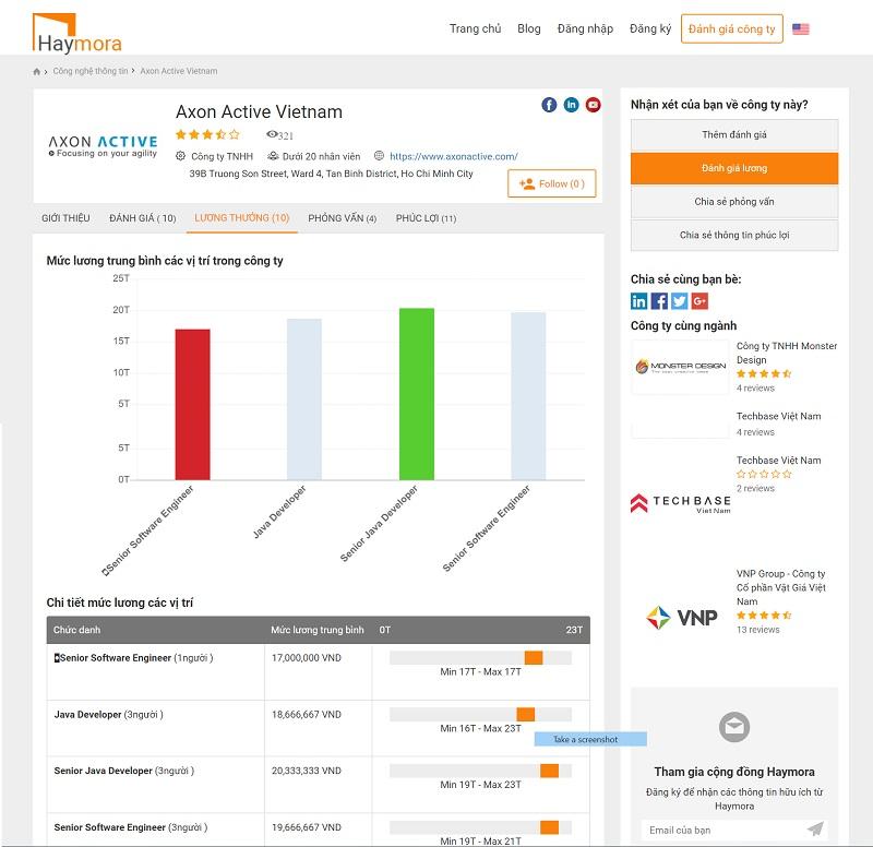 Tham khảo đánh giá mức lương tại haymora.com